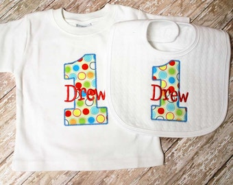 Boy First Birthday Shirt,Second,Third, Birthday Number Shirt, Matching Bib,Birthday hat