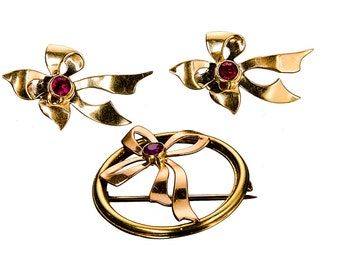 14k Retro brooch & matching earrings