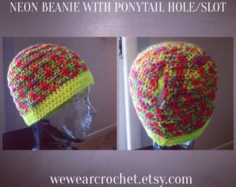 Neon Beanie With Ponytail Hole Slot
