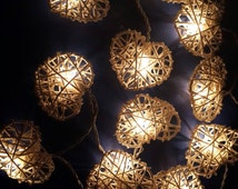 White Heart Rattan Lanterns String Lights Fairy Valentines Gift/Deco