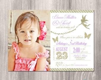 Fairy Birthday Invitation, Tinkerbell Invitation, Fairy Invitation, Butterfly Invitation, Fairy Princess Party, Printable Invite