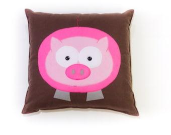 "Customizable Animal pillow, pig, 14"" square"