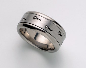 Unique Mens Wedding Band, Mens Ring, Cool Man Ring Band, Sperms Spinner Ring