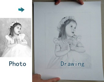 Custom original drawing portrait painting,pencil sketch portrait,photos to pencil drawing,pencil family portrait and etc on paper,one people