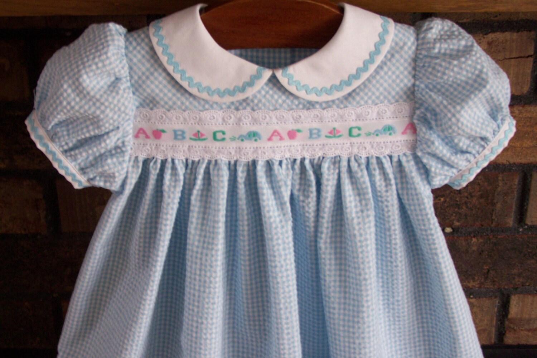 Infant Girl Blue Seersucker Float Dress by