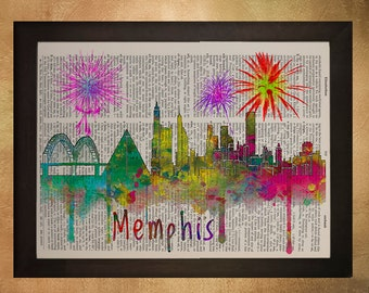 Memphis Skyline Dictionary Art Print Tennessee Silhouette Watercolor Upcycled Book Wall Art Home Decor da495