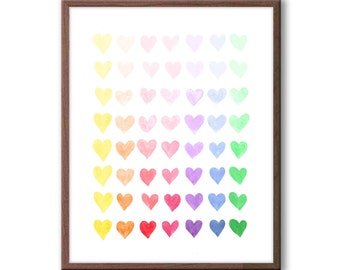 Hearts Watercolor, Baby Girl Nursery Art, Multicolor Nursery Art, Baby Girl Nursery Decor, Hearts Decor, Wall Art, Girls Room Artwork - H109