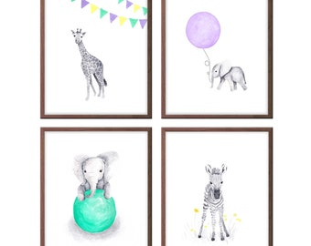 Baby Girl Nursery Art, Nursery Decor, Baby Elephant, Zebra, Giraffe, Art for Baby Girl, Wall Art, Set of 4 Prints - S411