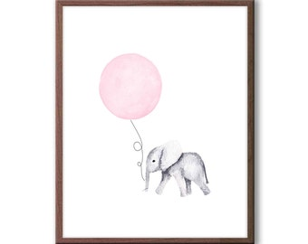 Pink and Gray Nursery Decor, Baby Girl Nursery Art, Elephant Nursery Art, New Baby Gift, Baby Elephant Watercolor, E176