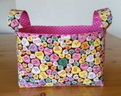 Candy Hearts Valentine's Medium Fabric Storage Bin Basket