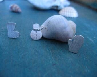 Silver Snowman Earrings, Winter Earrings, Christmas Gift, Silver Boot Earrings, Silver Glove Earrings, Silver Stud Earrings, Winter Jewelry