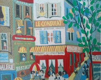 print of a French market town mounted on board 1970s