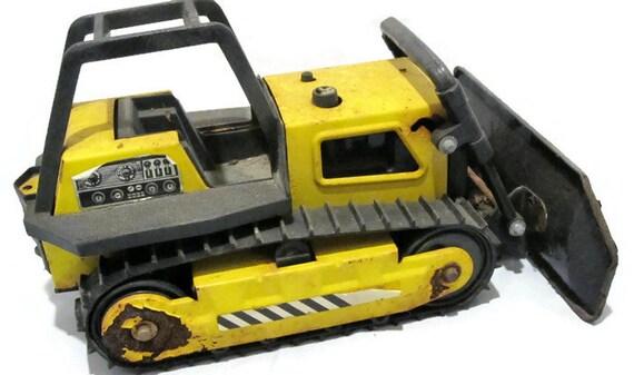 Vintage Tonka Tractors : Vintage tonka toy bulldozer metal plastic yellow black