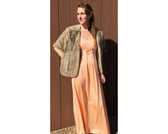 70s Peach Strappy Maxi Dress/Gown (S)