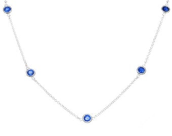 925 Sterling Silver Sapphire/White CZ Station Necklace 16''-18'' inches (please choose color)