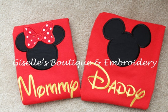 Mommy And Daddy Mickey And Minnie Mouse Red T Shirts