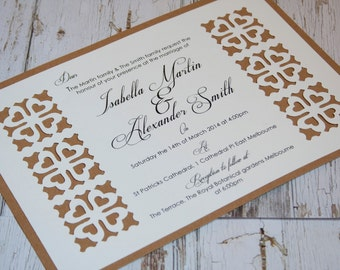 rustic heart pattern cut out border wedding invitation