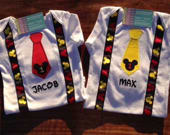 Mickey Birthday Onesie,  Mickey Mouse Tie and Suspenders,  Disney Vacation, Twins, Disney Trip, First Birthday, Mickey Mouse Birthday Shirt