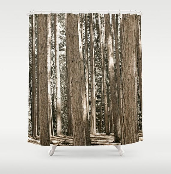 pine tree fabric shower curtain fine art print on fabric bathroom