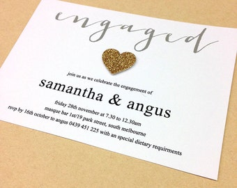 Engagement Invitation - glitter heart design