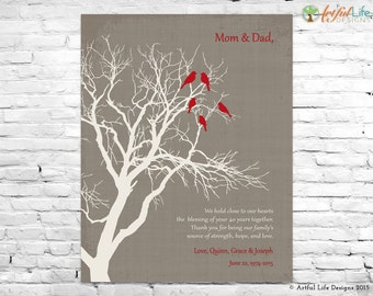 Personalized 40th ANNIVERSARY GIFT for Parents Grandparents, 40th RUBY Anniversary Gift, Anniversary Family Tree Art, Anniversary Keepsake