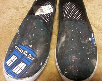 Hand Painted Galaxy Blue Police Box Slip on Canvas Shoes-Made to Order