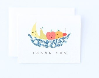 Cute Fruit Bowl Thank You Card - Cute Thank You Card, Thank Card, Fruit Bowl