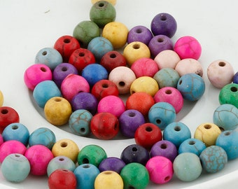 Multi Colored Turquoise Beads - 65 Beads-