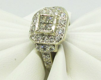 Estate 14 K white gold diamond engagement ring.