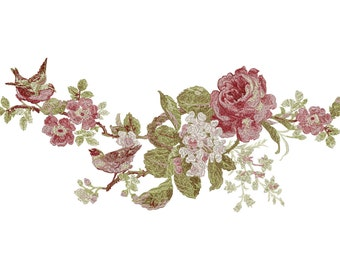 Machine Embroidery Design - Roses, Birds, Flowers - Six designs - Instant Download