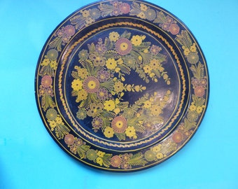 Mexican Folk Art Plate Vintage Painted Decorative Platter Laquerware Wall Hanging Floral Design