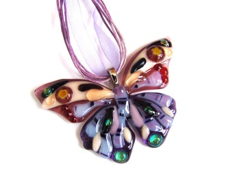 Necklace Fused Glass Pendant. Butterfly Violet. Fused glass.Necklace. Pink pendant.Magenta.Glass butterfly.Butterfly Pendant