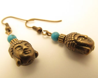 3861 - Turquoise and Bouddha Earrings