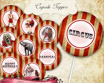 Circus Party Cupcake Toppers, Carnival Printable Party Labels, Circus Digital Tags, INSTANT DOWNLOAD!