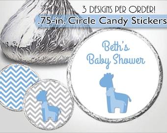 Chocolate Kiss Label BLUE GIRAFFE Chevron, Zig Zag - Custom Candy Stickers - Boy Baby Shower, Baby Sprinkle, Birthday Favors Personalized