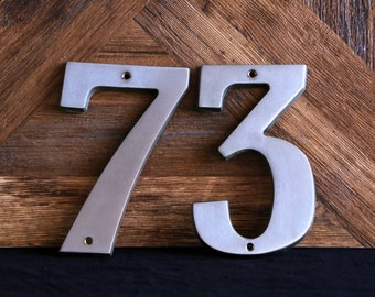 Rustic brushed aluminium house letters-3 & 7