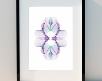 Purple Orchid - Geometric poster, Art for home, Poster, wall decor, Print Design,A2, A3 or A4
