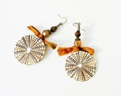 Long ethnic rustic shell and textile earrings, brown orange Indian sari, Tibetan agate brown beads, OOAK handmade jewelry.