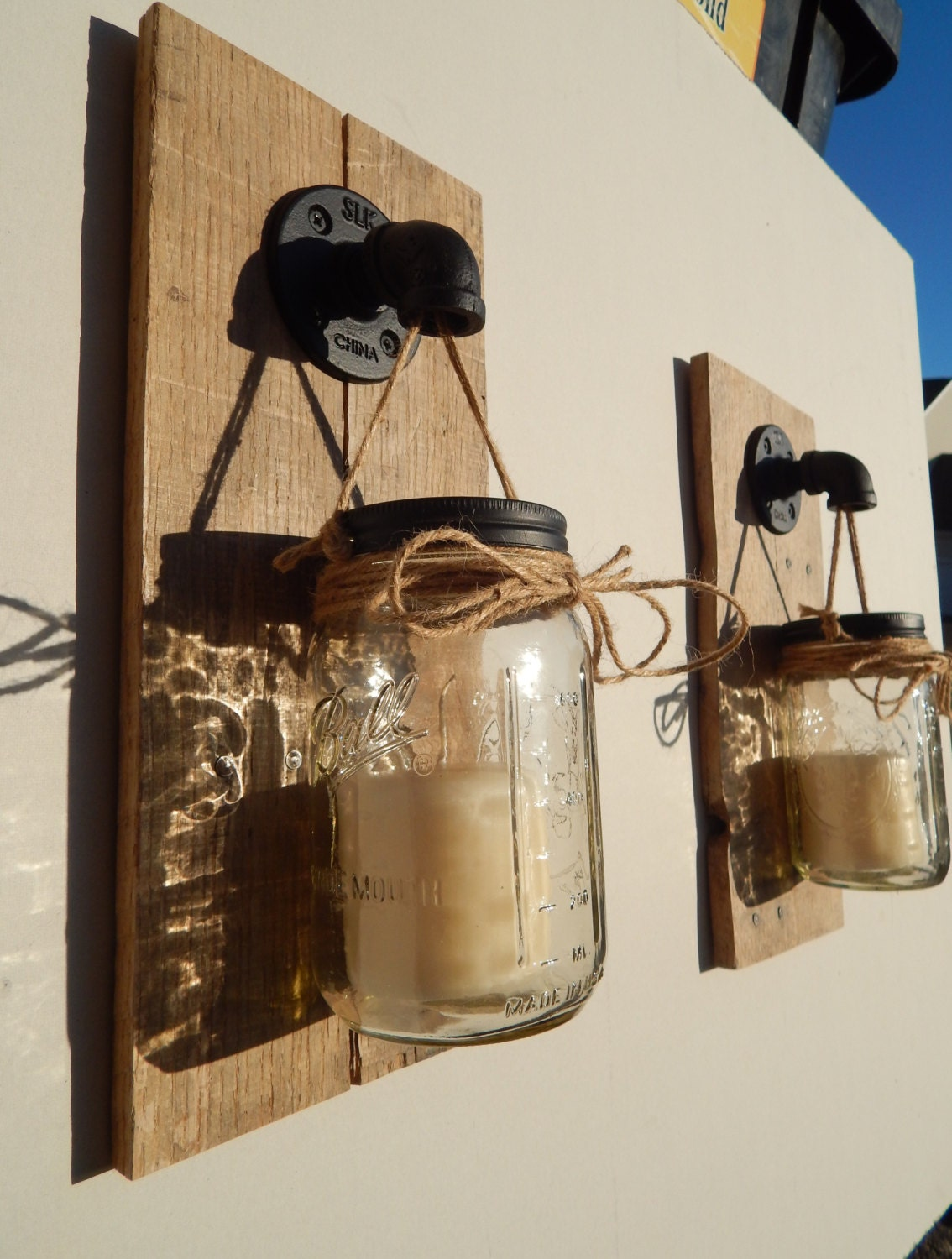 mason jar candle holder wall sconce set of 2 industrial pipe. Black Bedroom Furniture Sets. Home Design Ideas