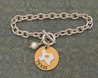 Texas Love Toggle Bracelet with Pearl Accent - 22718