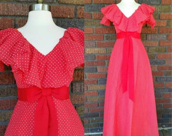 70s Gypsy Dress Red Polka Dot Deadstock With Tag XS/S