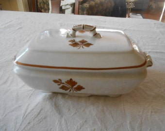"Vintage Ironstone rectangular covered vegetable bowl in the ""Tea Leaf"" pattern by Alfred Meakin, England"