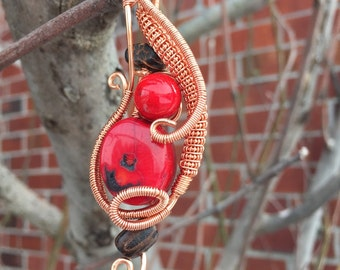 Red coral Reclaimed Driftwood Brilliant Bright Copper Wire Wrapped Pendant~ Coral Pendant~ Beach Jewelry~ Artisan Pendant~