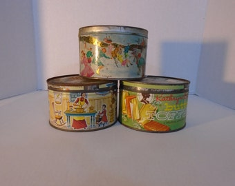 Toffee Candy Tin 1960s Kathryn Beich Candies Butter Toffee Mrs Leleand Old fashioned Golden butter bits  retro
