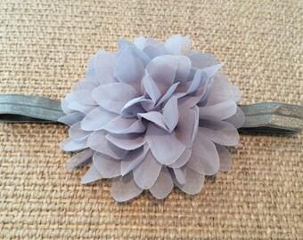 Grey Fold Over Elastic Headband Stretchy Headband with Grey Chiffon Flower