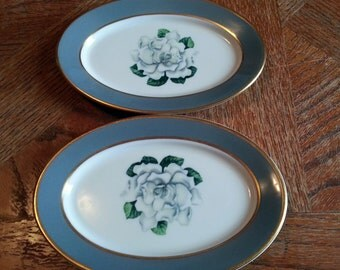Pair of Vintage Syracuse China Restaurantware White Rose Butter Plates