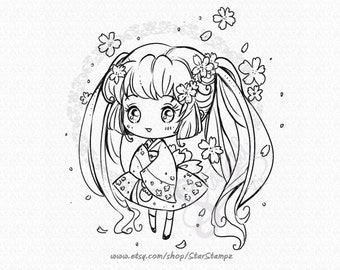 Sakura Cherry Blossom DIGITAL STAMP Instant Download