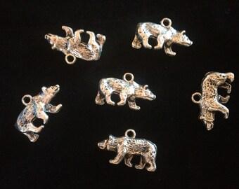 Six Metal Bear Charms