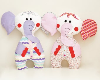 Personalized Stuffed Elephant Toy Handmade Plush Gift. Christening or New Baby Gift. Your child name on the elephant. Gift for girl or boy.
