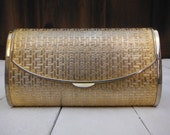 Vintage Saks Fifth Avenue Gold, Basket Weave Textured Metal Clutch Purse with Chain Strap, Made in Italy, Gold Metal Clutch, Gold Box Purse